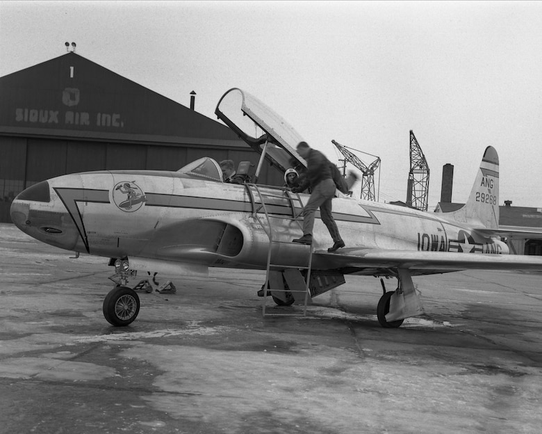 A U.S. Air Force F-80 Shooting Star assigned to the 174th Fighter Squadron, Iowa Air National Guard is on the ramp in Sioux City, Iowa in July, 1955. The Air National Guard squadron received the F-80 after the unit returned to Sioux City following an activation during the Korean War. 185th ARW Photo/ Released