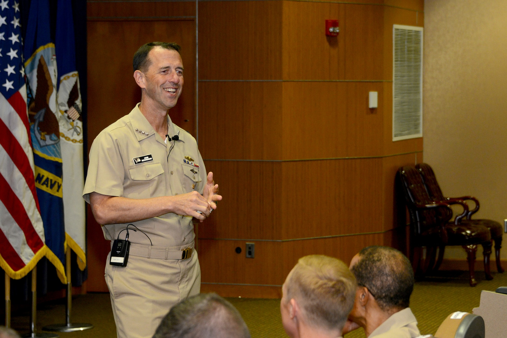 The Chief of Naval Operations (CNO), U.S. Navy Adm. John M. Richardson, provides remarks during a Navy all-hands call at Offutt Air Force Base, Neb., Aug. 24, 2016. During the forum, Richardson discussed the U.S. Navy's design for maintaining maritime security today and into the future and answered questions from members of the audience. While here, Richardson also participated in discussions with U.S. Navy Adm. Cecil D. Haney, U.S. Strategic Command (USSTRATCOM) commander, and other USSTRATCOM leaders on modernization of the sea-based leg of the nuclear triad and other areas of collaboration and mutual interest. A member of the Joint Chiefs of Staff, the CNO is the principal naval adviser to the president and to the Secretary of the Navy (SECNAV) on the conduct of war, and is the principal adviser and naval executive to the SECNAV on the conduct of activities of the Department of the Navy. One of nine DoD unified combatant commands, USSTRATCOM has global strategic missions assigned through the Unified Command Plan, which include strategic deterrence; space operations; cyberspace operations; joint electronic warfare; global strike; missile defense; intelligence, surveillance and reconnaissance; combating weapons of mass destruction; and analysis and targeting. (U.S. Air Force photo by Staff Sgt. Jonathan Lovelady)