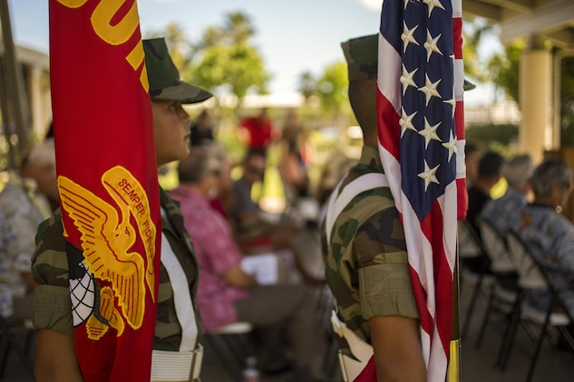 Members of Pyramid Rock Young Marines program prepare to post colors during the Marine Memorial Rededication Ceremony at the USS ARIZONA Education Center, Honolulu, Hawaii, Aug. 19, 2016. The memorial is dedicated to the 73 U.S. Marines that made the ultimate sacrifice and their 15 fellow Marines who survived the attack on Pearl Harbor.
