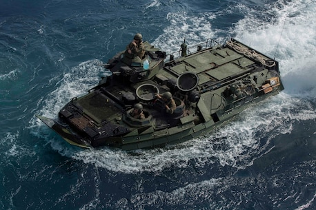 ABOARD USS GERMANTOWN (LSD-42), At Sea (Aug. 21, 2016) - U.S. Marines with Battalion Landing Team, 2nd Battalion, 4th Marines, riding Assault Amphibious Vehicles, boarded the USS Germantown (LSD-42) while underway as part of the 31st Marine Expeditionary Unit and Bonhomme Richard Amphibious Ready Group, Aug. 21, 2016. 