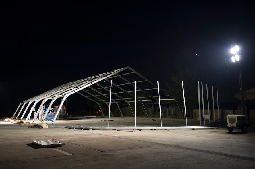 U.S. Air Force Airmen assigned to the 49th Materiel Maintenance Squadron, construct an 8K dome shelter Aug. 8, 2016 at Incirlik Air Base, Turkey. The shelter is being constructed for aircraft maintenance on the flightline. (U.S. Air Force photo by Airman 1st Class Devin M. Rumbaugh)