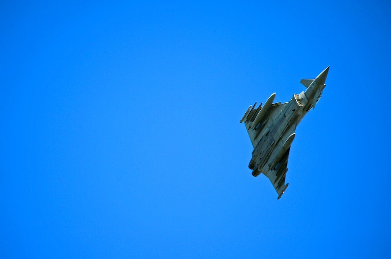 A Royal Air Force Typhoon participates in a flying training exercise at Ämari Air Base, Estonia, Aug. 24, 2016. Aircraft and personnel from the U.S., Sweden, Finland, the U.K. and Estonia are participating in flying training exercises to build interoperability and focus on dissimilar air training. (U.S. Air Force photo by Senior Airman Erin Trower/Released)