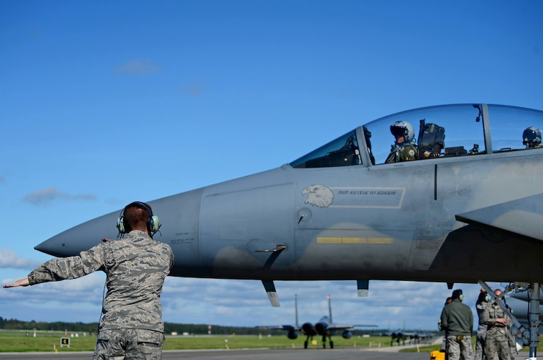A U.S. Air Force 493rd Fighter Squadron pilot prepares for departure in an F-15D Eagle at Ämari Air Base, Estonia, Aug. 24, 2016. Martha Raddatz, ABC News chief global affairs correspondent, received a familiarization flight in the back of the aircraft to become familiar with the aircraft's capabilities during the squadron's multilateral flying training deployment. Five countries are participating in the FTD, which allows for various aircraft and Airmen to test their capabilities against each other in a realistic training environment. The 493rd FS is assigned to Royal Air Force Lakenheath, England. (U.S. Air Force photo by Senior Airman Erin Trower/Released)