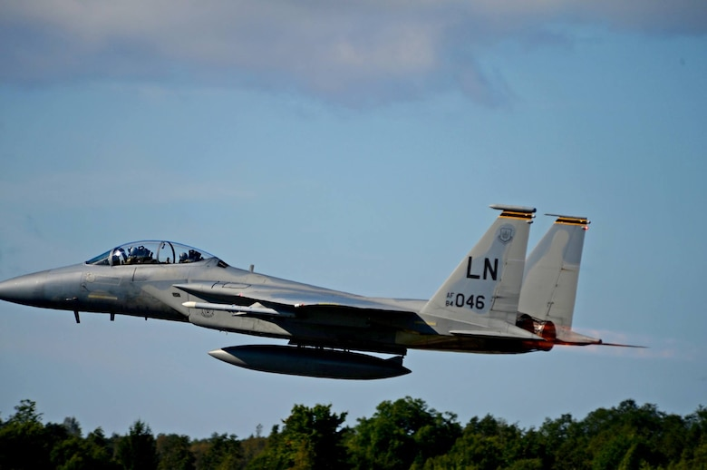 A U.S. Air Force 493rd Fighter Squadron F-15D Eagle departs Ämari Air Base, Estonia, Aug. 24, 2016. Martha Raddatz, ABC News chief global affairs correspondent, took a familiarization flight in the back seat of the aircraft to become familiar with the aircraft's capabilities during the squadron's multilateral flying training deployment. The 493rd Fighter Squadron, assigned to Royal Air Force Lakenheath, England, and the 194th Expeditionary Fighter Squadron, assigned to the California Air National Guard in Fresno, are participating in the FTD with 16 F-15C Eagle aircraft alongside national allies in focus of maintaining security and building partnership capacity with Estonia. (U.S. Air Force photo by Senior Airman Erin Trower/Released)