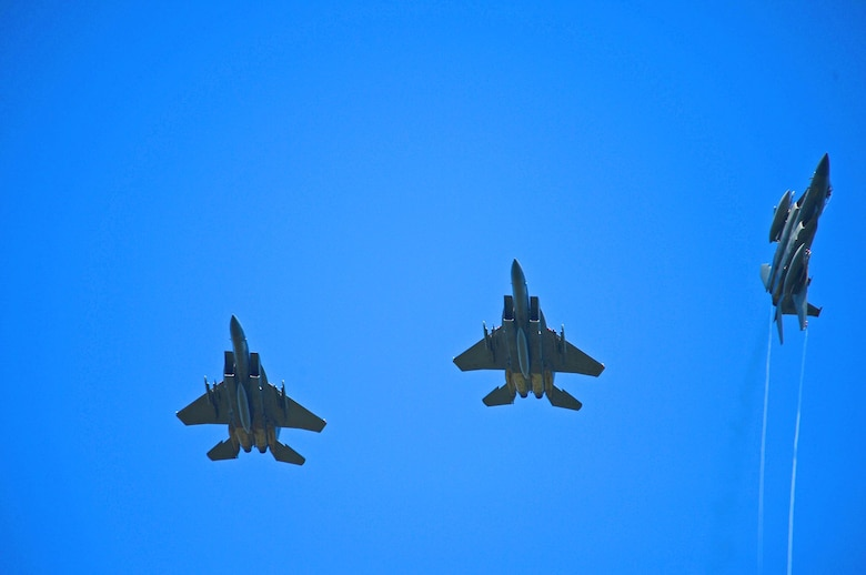 A formation of U.S. Air Force F-15C and D Eagles, assigned to the 493rd Fighter Squadron, fly over Ämari Air Base, Estonia, Aug. 24, 2016. Martha Raddatz, ABC News chief global affairs correspondent, took a familiarization flight in the back seat of the aircraft to become familiar with the jet's capabilities during the squadron's multilateral flying training deployment. Five countries are participating in the FTD, which allows for various aircraft and Airmen to test their capabilities against each other in a realistic training environment. The 493rd FS is assigned to Royal Air Force Lakenheath, England. (U.S. Air Force photo by Senior Airman Erin Trower/Released)