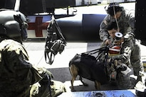 A service member helps secure Army Spc. Harley Reno, right foreground, and his dog, Kyra, into a hoist during K-9 hoist evacuation training at Soto Cano Air Base, Honduras, Aug. 15, 2016. Reno is assigned to Joint Task Force Bravo's Joint Security Forces. Air Force photo by Staff Sgt. Siuta B. Ika