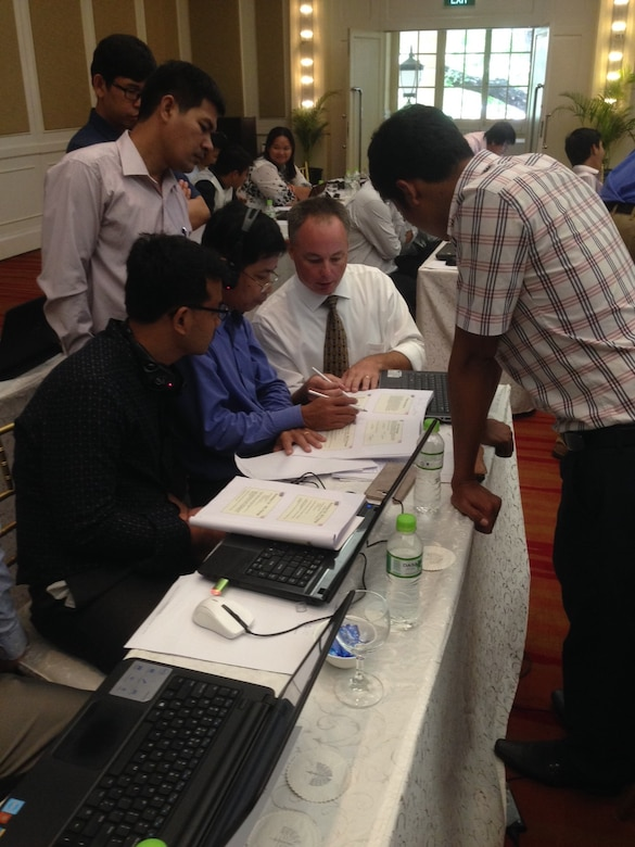 USACE Philadelphia District Hydraulic Engineer Steve England (center) answered questions about groundwater modeling during a USACE-led workshop in Cambodia. The workshop was designed to provide an overview of groundwater principles and modeling tools that can help engineers, planners, and water resources managers make more informed decisions.