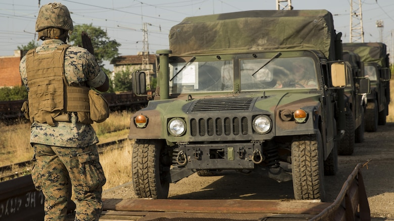 U.S. Marines moved gear onto the Bulgarian rail system, Aug. 23, 2016. The gear movement from Novo Selo Training Area, Bulgaria, to Agile Spirit 16 in Tbilisi, Georgia, demonstrated the Marines' ability to pack, load and transport gear quickly to support operations anywhere in the Black Sea region.