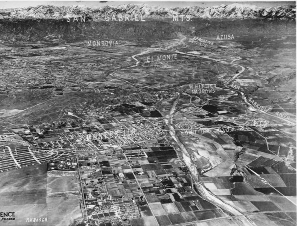 Historical photo of Whittier Narrows Aerial View Basin and Watershed, 1935