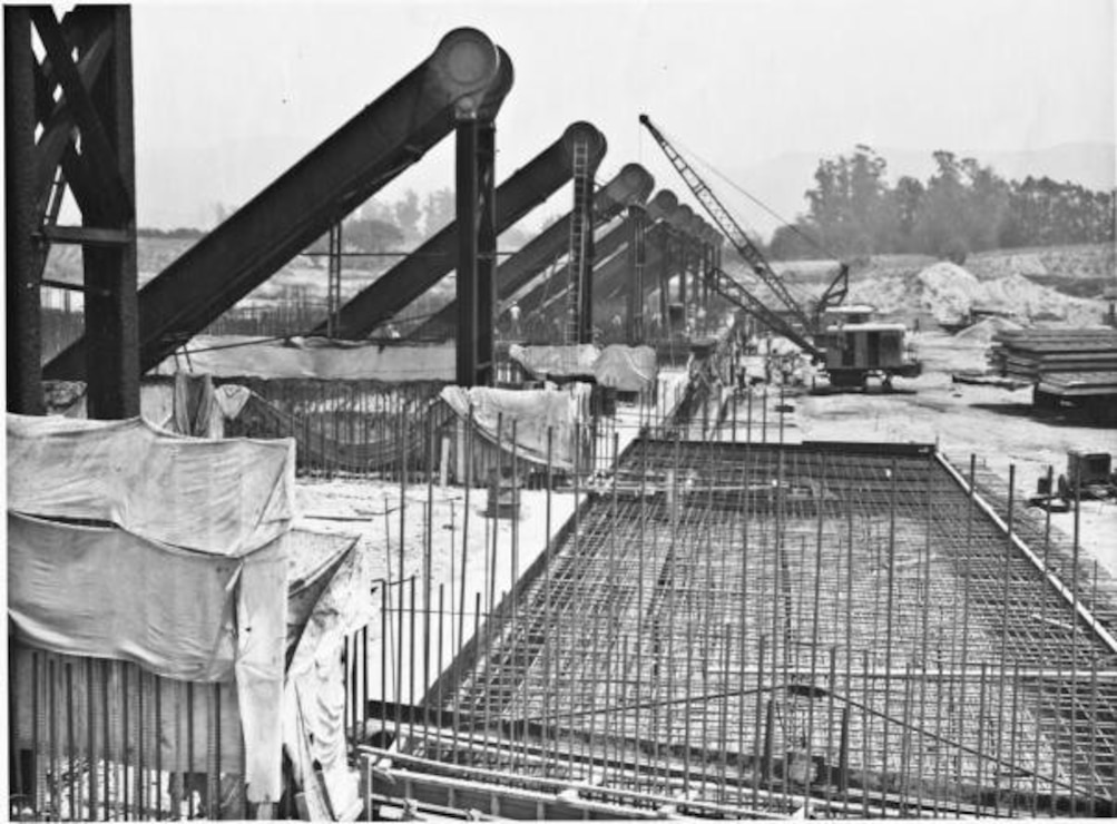 Construction of Whittier Narrows Dam and Spillway