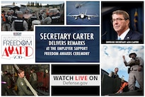 Defense Secretary Ash Carter is scheduled to present the 2016 Secretary of Defense Employer Support Freedom Award to 15 companies during a ceremony at the Pentagon.