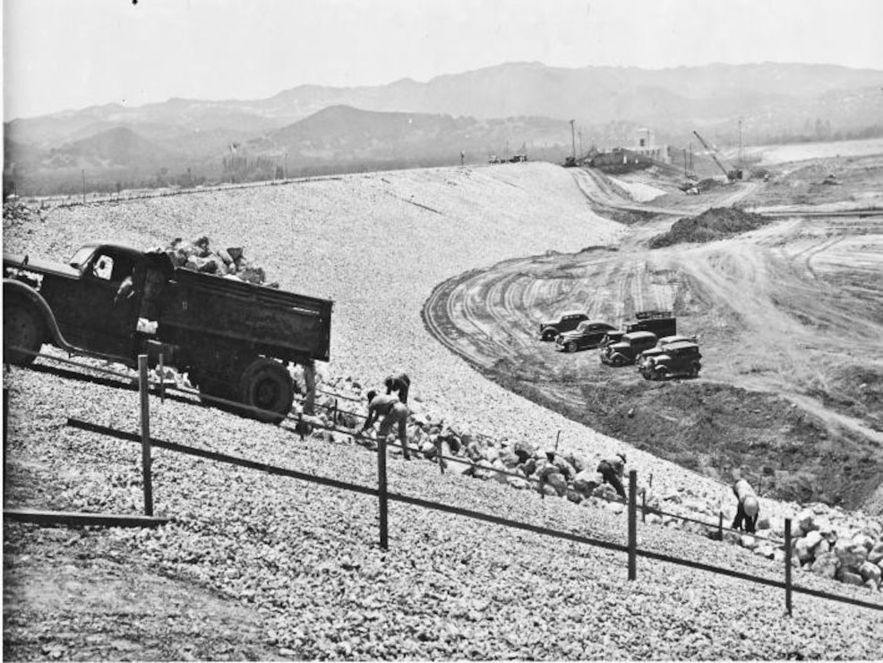 Sepulveda Dam Construction, 1940