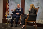 U.S. Air Force Gen. Paul J. Selva, vice chairman of the Joint Chiefs of Staff, answers an attendee's question during a military strategy forum at the Center for Strategic and International Studies in Washington, D.C., Aug. 25, 2016. Selva discussed the future of joint capabilities and military innovation. DoD photo by Army Sgt. James K. McCann
