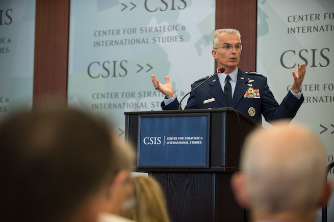 Air Force Gen. Paul J. Selva, vice chairman of the Joint Chiefs of Staff, speaks during a military strategy forum at the Center for Strategic and International Studies in Washington, D.C., Aug. 25, 2016. Selva discussed the future of joint capabilities and military innovation. DoD photo by Army Sgt. James K. McCann