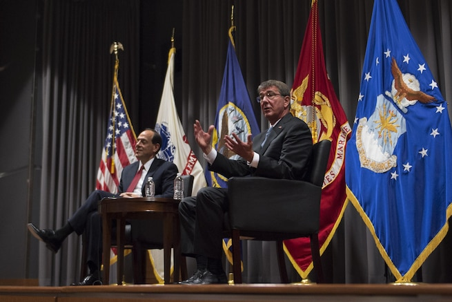 Defense Secretary Ash Carter speaks at a town hall meeting at the Office of the Inspector General in Alexandria, Va., Aug. 25, 2016. DoD photo by Navy Petty Officer 1st Class Tim D. Godbee