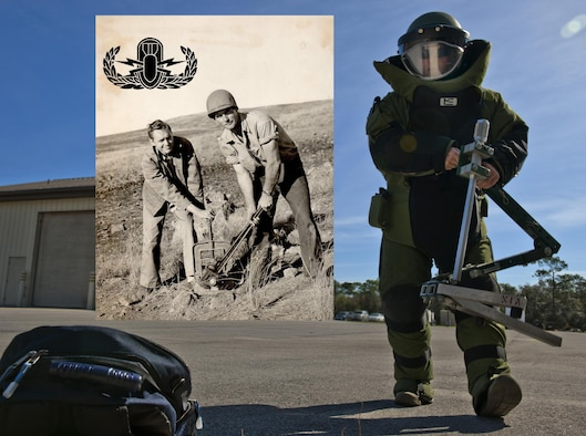 Explosive ordnance disposal then and now.  (Graphic/Samuel King Jr.)