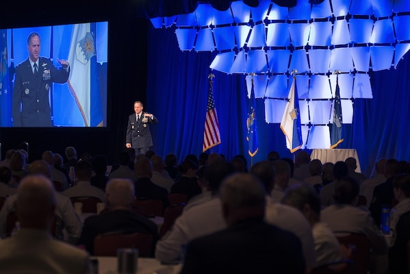 U.S. Air Force Chief of Staff Gen. David L. Goldfein delivers a speech during the Air Force Sergeants Association Professional Airmen's Conference and International Convention at the Grand Hyatt in San Antonio Aug. 24, 2016. Goldfein performed a question and answer session with attendees to conclude his speech and addressed topics such as how instructors can impact Airmen during their time at First Term Airman Center.