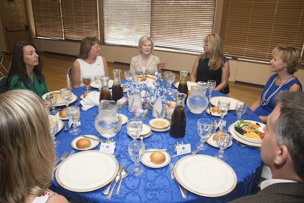 Dawn Goldfein, spouse of U.S. Air Force Chief of Staff Gen. David L. Goldfein, speaks with Joint Base San Antonio Key Spouses during her visit to JBSA-Randolph Aug. 23, 2016.  Goldfein's visit gave the opportunity for interactive dialogue to allow greater understanding of the successes, issues, concerns and overall culture for families in JBSA.