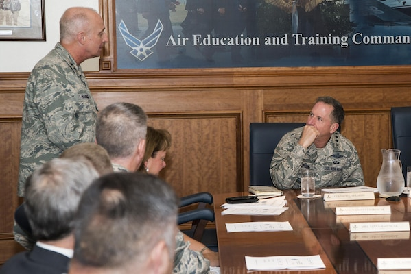 U.S. Air Force Maj. Gen. Garrett Harencak, Air Force Recruiting Service commander, discusses methods for recruitment with Air Force Chief of Staff Gen. David L. Goldfein during a roundtable meeting at Joint Base San Antonio-Randolph Aug. 23, 2016. The purpose of the meeting was to provide insights and challenges faced for recruiters in specialty careers such as medical, engineering and special operations.