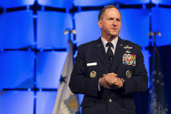 U.S. Air Force Chief of Staff Gen. David L. Goldfein delivers a speech during the Air Force Sergeants Association Professional Airmen's Conference and International Convention at the Grand Hyatt in San Antonio Aug. 24, 2016. Goldfein, the keynote speaker, focused his remarks on the state of the Air Force.