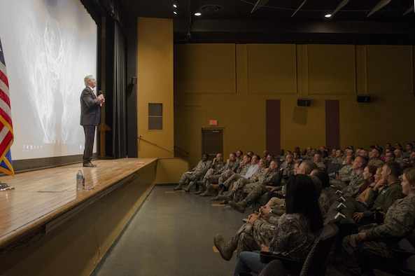Dan Clark, an inspirational speaker and author, speaks to the Airmen stationed at Davis-Monthan AFB, Ariz. about leadership at the base theater, Aug. 24, 2016. Clark conducted a one and a half-hour leadership seminar at the base theater for all military, civilians, and spouses. (U.S. Air Force photo by Tech. Sgt. Heather R. Redman)