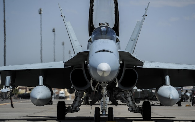 A Spanish air force EF-18M prepares for take-off during Red Flag 16-4 at Nellis Air Force Base, Nev., Aug. 17, 2016. Red Flag is a realistic combat exercise involving U.S. and allied air forces conducting training operations on the 15,000 square mile Nevada Test and Training Range. (U.S. Air Force photo by Airman 1st Class Kevin Tanenbaum/Released)
