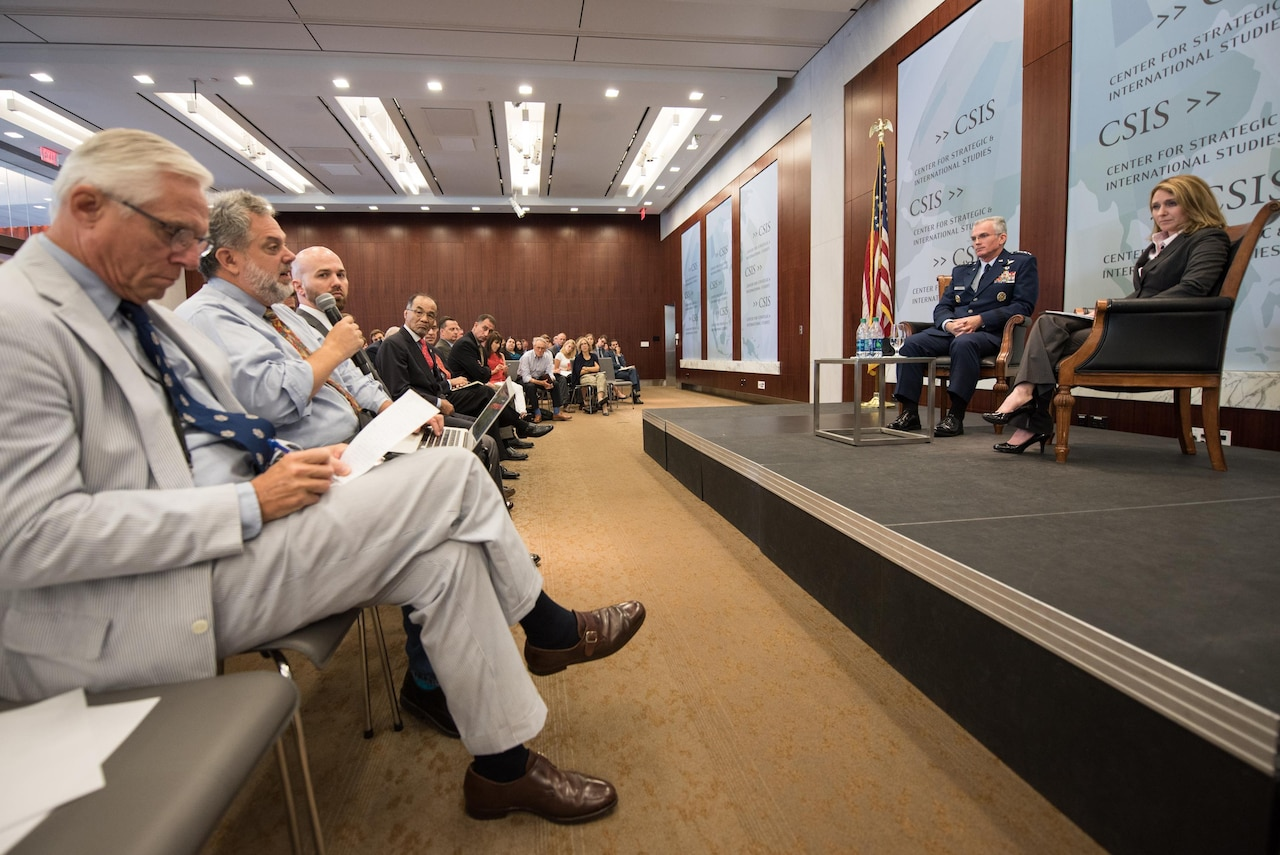 Air Force Gen. Paul J. Selva, vice chairman of the Joint Chiefs of Staff, listens to a question at the Center for Strategic and International Studies in Washington, Aug. 25, 2016. Selva spoke on the future of joint capabilities and military innovation. DoD photo by Army Sgt. James K. McCann