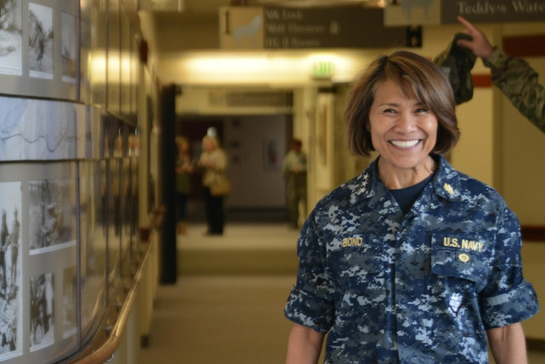 Vice Adm. Raquel Bono, Defense Health Agency director, tours the Joint Base Elmendorf-Richardson hospital, Alaska, Aug. 18, 2016. The DHA is a joint agency that enables Army, Navy and Air Force medical services to provide a healthy force in both peacetime and war. (U.S. Air Force photo by Airman 1st Class Christopher R. Morales)