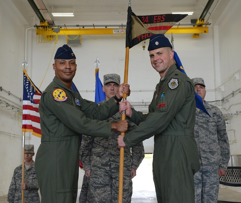 Lt. Col. Seth Spanier, right, 34th Expeditionary Bomb Squadron commander, accepts the 34th EBS guidon from Col. Samuel G. White III, 36th Operations Group commander, during a transfer of authority ceremony at Andersen Air Force Base, Guam, Aug. 15, 2016. The ceremony solidified the responsibility of the U.S. Pacific Command's Continuous Bomber Presence being passed from the 69th EBS from Minot Air Force Base, N.D., to the 34th EBS from Ellsworth Air Force Base, S.D. (U.S. Air Force photo by Airman 1st Class Arielle Vasquez)