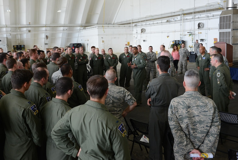 Maj. Gen. Richard Clark, Eighth Air Force commander, speaks to Airmen after a transfer of authority ceremony at Andersen Air Force Base, Guam, Aug. 15, 2016. The ceremony solidified the responsibility of the U.S. Pacific Command's Continuous Bomber Presence being passed from the 69th EBS from Minot Air Force Base, N.D, to the 34th EBS from Ellsworth Air Force Base, S.D. (U.S. Air Force photo by Airman 1st Class Arielle Vasquez)