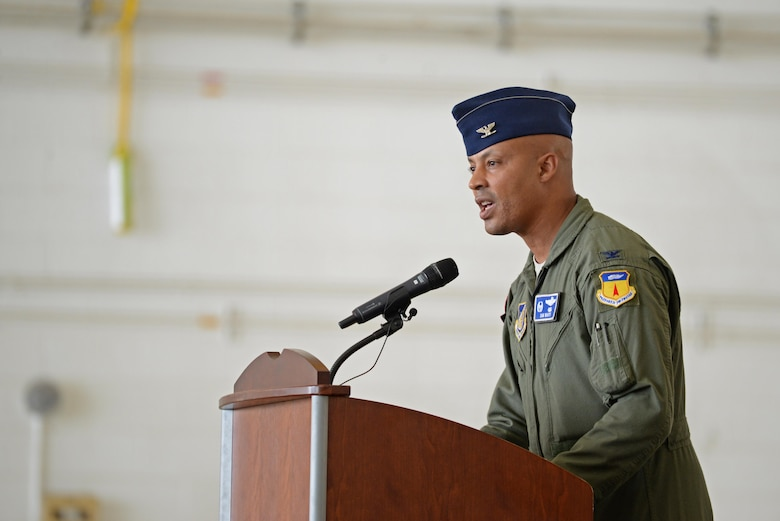 Col. Samuel White, 36th Operations Group commander, speaks during a transfer of authority ceremony at Andersen Air Force Base, Guam, Aug. 15, 2016. The ceremony solidified the responsibility of the U.S. Pacific Command's Continuous Bomber Presence being passed from the 69th EBS from Minot Air Force Base, N.D, to the 34th EBS from Ellsworth Air Force Base, S.D. (U.S. Air Force photo by Airman 1st Class Jacob Skovo)