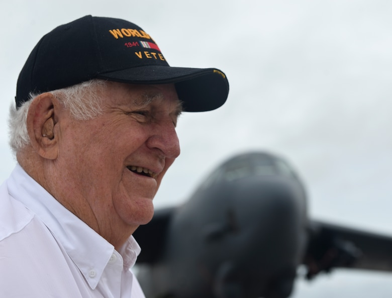 Rowland Ball, a World War II veteran, talks about his war experiences during a visit to Andersen Air Force Base, Guam, Aug. 16, 2016. Ball was stationed in Guam in 1945 and visited the island for the first time in 71 years. (U.S. Air Force photo by Staff Sgt. Benjamin Gonsier)
