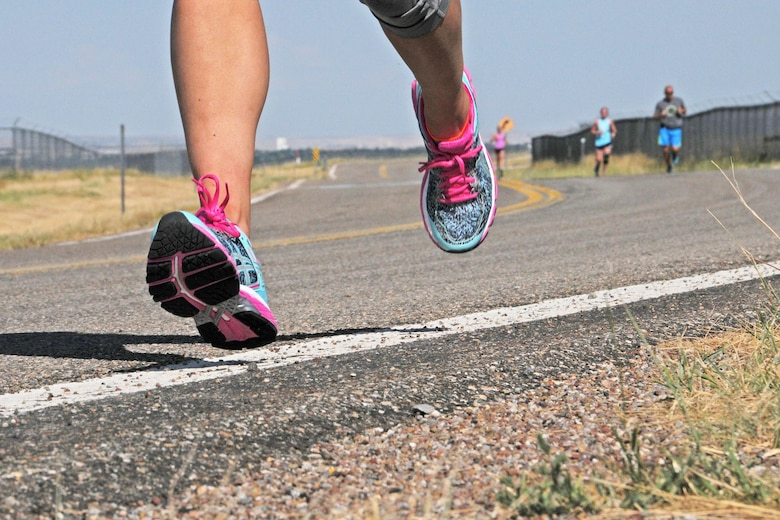 Montana Air National Guard members train for the Air Force Marathon Aug. 15, 2016, in Great Falls, Mont. by putting their shoes to the pavement. The 20th annual AF Marathon will be located in Dayton, Ohio, Sept. 17. (U.S. Air National Guard photo/Staff Sgt. Lindsey Soulsby/Released)