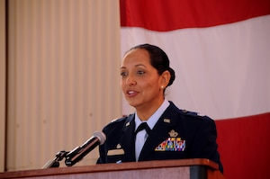 Lt. Col. Susana Smith, commander of the 250th Intelligence Squadron, addresses members of the 150th Special Operations Wing as well as other special guests, during the Aug. 19 ribbon cutting ceremony of their newly remodeled building. (U.S. National Guard photo by Master Sgt. Paula Aragon)
