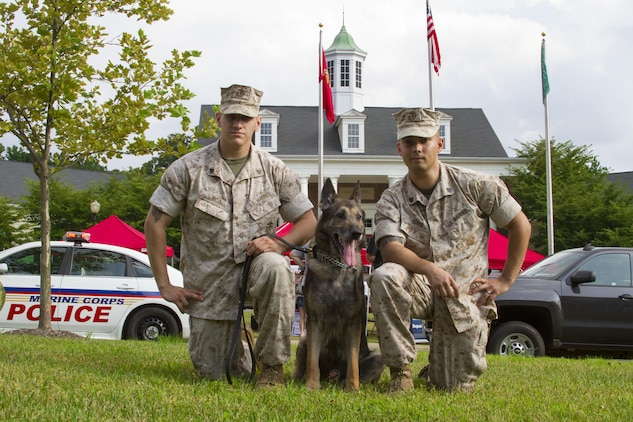 Sergeant Shawn R. Edens (right) and Cpl. Braxton H. Rico (left) pose for a picture with Segal (middle) before the 2016 National Night Out begins outside of Lincoln Military Housing aboard Marine Corps Base Quantico, Va., Aug. 2. The purpose of the event is to strengthen relationships between police forces and community partnerships while increasing public awareness of Quantico's Security Battalion. Edens and Rico are assigned to Security Battalion aboard MCB Quantico. Segal is a German shepherd who was Edens' last dog to handle, but is now Rico's first.