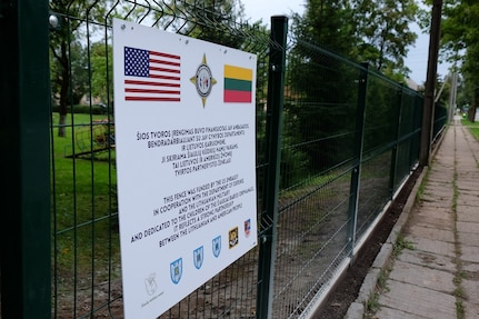 SIAULIAI, Lithuania – Army Reserve Soldiers from the 7th Mission Support Command helped coordinate the construction of a new fence and gate and sign for the local 'infant' or 'baby' orphanage with USAR Soldiers from the 412th Theater Engineer Command and Lithuanian Soldiers and Airmen and local national contractors, Aug. 8-25, 2016.