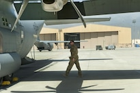 Air Force Capt. Andrew Campbell conducts a preflight inspection of a C-130J Super Hercules aircraft at Bagram Airfield, Afghanistan, Aug. 19, 2016, before delivering cargo and fuel to Camp Dwyer in Afghanistan. Campbell is a pilot assigned to the 774th Expeditionary Airlift Squadron. Air Force photo by Capt. Korey Fratini