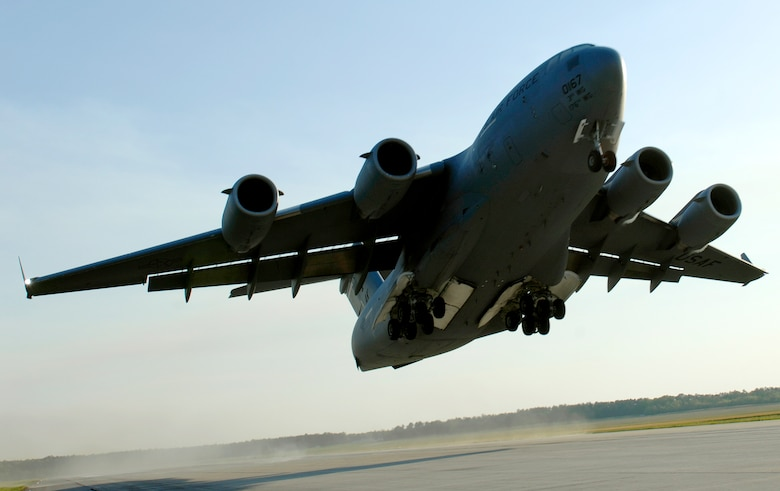 The C-17 Globemaster III was certified for unlimited use of hydro-processed blended biofuels known as hydro-treated renewable jet fuels, officials announced Feb. 9, 2011. (U. S. Air Force photo / Staff Sgt. Brian Ferguson)