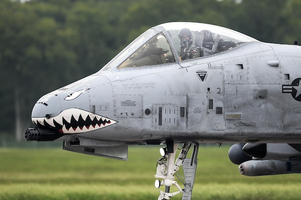 An A-10 Thunderbolt II with the 75th Fighter Squadron from Moody Air Force Base, Ga., taxies down the runway at Barksdale Air Force Base, La., Aug. 20, 2016. A-10 pilots flew in both the A-10 and the A-29B Super Tucano, coordinating simulated close air support missions as part of the exercise. (U.S. Air Force photo/Senior Airman Mozer O. Da Cunha)