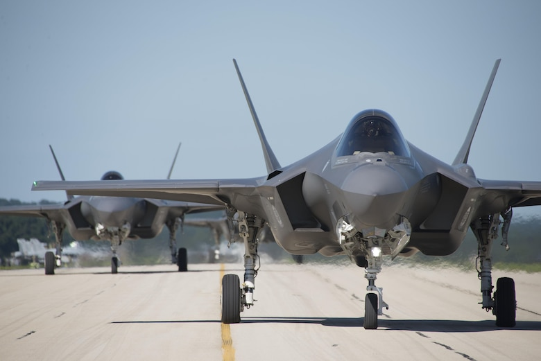 F-35A Lightning IIs from the 33rd Fighter Wing taxi down the flightline at Volk Field, Wis., during Northern Lightning, Aug. 22, 2016. Northern Lightning is a tactical-level, joint training exercise that emphasizes fifth- and fourth-generation assets engaged in a contested, degraded environment. (U.S. Air Force photo/Senior Airman Stormy Archer)
