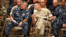 (Left to right) U.S. Navy Rear Adm. Roy Kitchener, the commander of Expeditionary Strike Group 2, speaks with Brig. Gen. Robert F. Castellvi, the commanding general of 2nd Marine Expeditionary Brigade, during a rehearsal of concepts drill as part of Bold Alligator 2016 in Norfolk, Virginia, Aug. 13, 2016. BA16 focuses on improving Navy-Marine Corps amphibious core competencies along with coalition, North Atlantic Treaty Organization, Allied and partner nations as an investment in the current and future readiness of naval forces. BA16 is taking place Aug. 15-26, 2016, along the eastern seaboard.