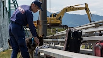 A Hiroshima Prefectural Police Headquarters officer searches for hidden explosives during joint training with the Marine Corps Air Station Iwakuni's Provost Marshal's Office K-9 unit and Japan Maritime Self-Defense Force Kure Repair and Supply Facility Petroleum Terminal unit military working dog handlers at Marine Corps Air Station Iwakuni, Japan, Aug. 24, 2016. U.S. and Japanese handlers escorted their K-9's to locate explosives hidden throughout the stations old furniture store. Handlers and their dogs later conducted evacuation training at the Penny Lake baseball field where they simulated reacting to a bomb threat. The area was set up as if residents had already evacuated the area and left their personal belongings behind.
