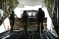 Air Force loadmasters offload a pallet of cargo from a C-130J Super Hercules at Camp Dwyer in Afghanistan, Aug. 19, 2016. Air Force photo by Capt. Korey Fratini