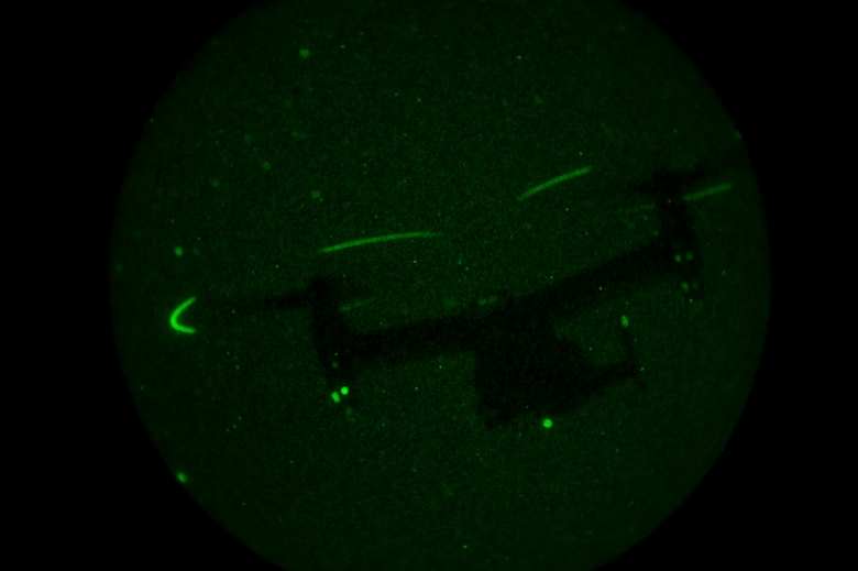 A CV-22 Osprey conducts nighttime search and recovery during a training exercise in Green River, Utah, July 27, 2016. The full mission profile provided these Airmen an opportunity to practice their core competencies and hone their skills in unfamiliar terrain similar to what they might encounter overseas. (U.S. Air Force photo/Staff Sgt. Eboni Reams)