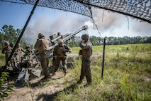 The 18th Sergeant Major of the Marine Corps, Ronald L. Green, participates in a live fire mission with Battery A, 1st Battalion, 10th Marines aboard Fort Stewart, GA, Aug 24, 2016.  (U.S. Marine Corps photo by Sgt. Melissa Marnell, Office of the Sergeant Major of the Marine Corps/Released)
