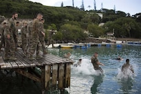 U.S. Marines and French soldiers jump into the ocean during a commando course off the coast of Noumea, New Caledonia, Aug. 15, 2016. The course is a part of Exercise AmeriCal 16. 
