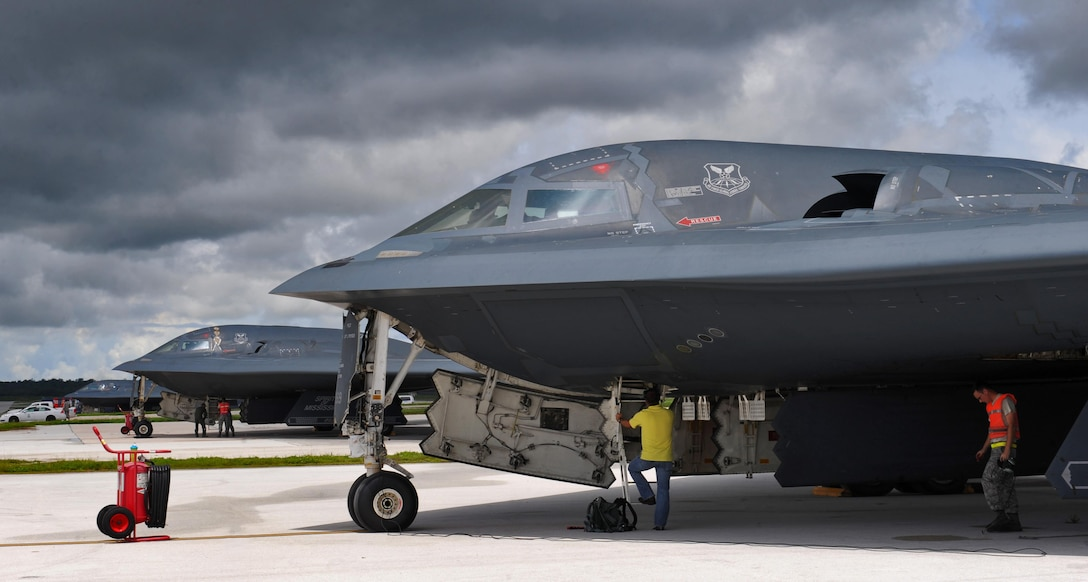 U.S. Air Force B-2 Spirit aircraft undergo pre-flight inspections prior to take off at Andersen Air Force Base, Guam, Aug. 11, 2016. More than 200 Airmen and three B-2s deployed from Whiteman Air Force Base, Mo., to conduct local sorties and regional training and integrate with regional allies in support of Bomber Assurance and Deterrence missions. (U.S. Air Force photo by Tech. Sgt. Miguel Lara III)