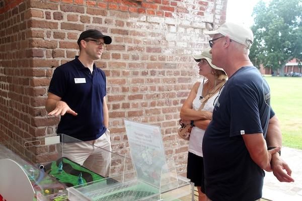 U.S. Army Corps of Engineers, Savannah District staff participate in a celebration of the National Park Service's 100th anniversary at Fort Pulaski National Monument near Savannah, Georgia Aug. 25, 2016. The centennial celebrated the achievements of the past 100 years and ushers in a new century of stewardship for America's national parks.