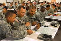 Soldiers participate in map reading class during premobilization training at Fort Indiantown Gap, Pa., Aug. 16, 2016. Army National Guard photo by Sgt. Cesar Leon