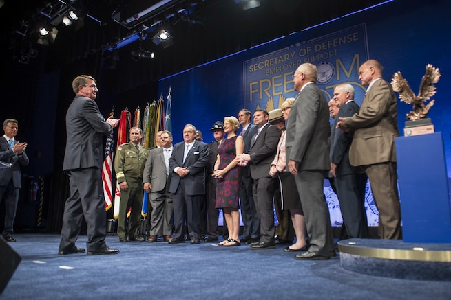 Defense Secretary Ash Carter applauds the winners of the 2016 Employer Support Freedom Award at the Pentagon, Aug. 26, 2016. Fifteen companies received the award. DoD photo by Navy Petty Officer 1st Class Tim D. Godbee